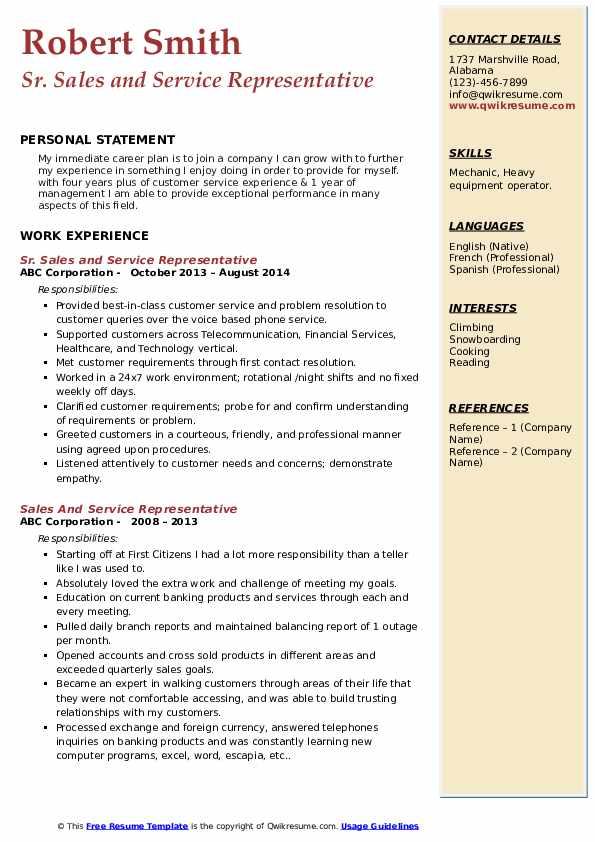Sr. Sales and Service Representative Resume Sample