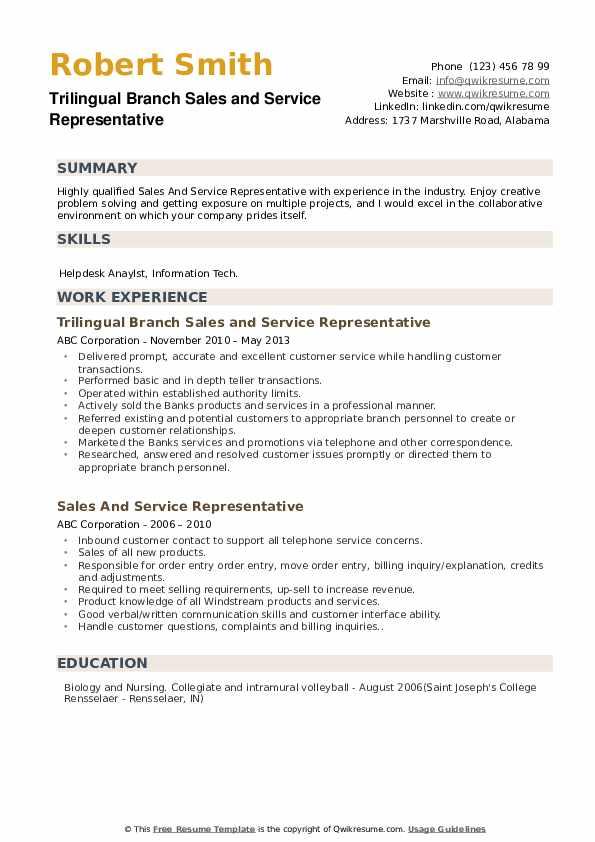 Trilingual Branch Sales and Service Representative Resume Model