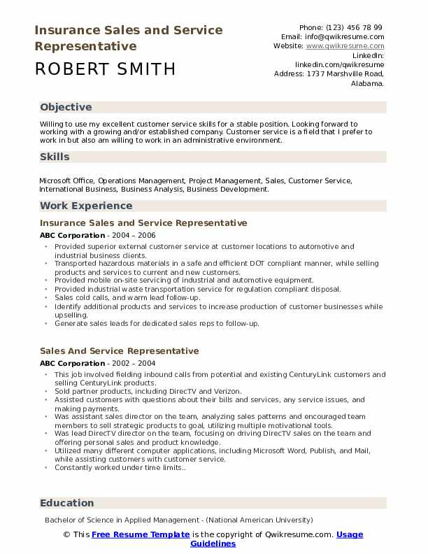 Insurance Sales and Service Representative Resume Model