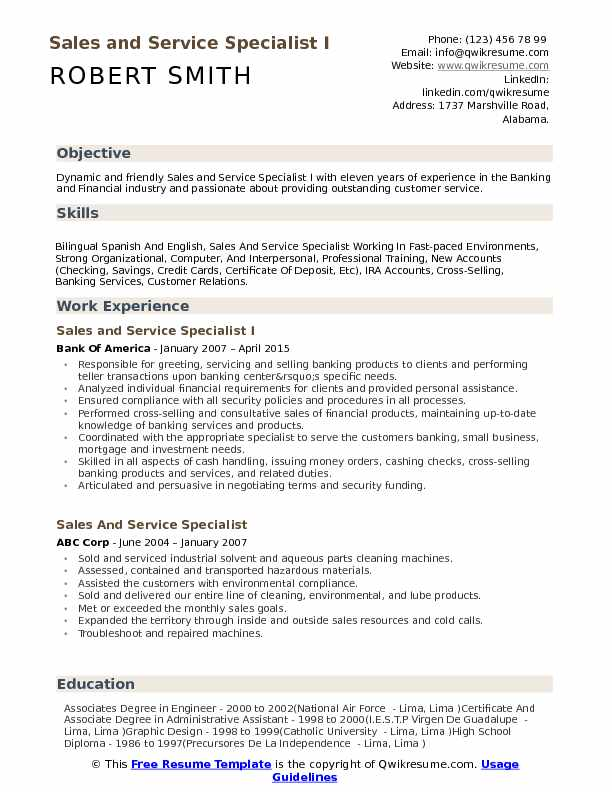 Sales and Service Specialist I Resume Model
