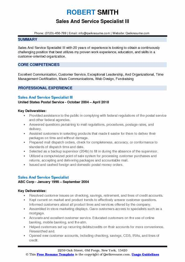 Sales And Service Specialist III Resume Format