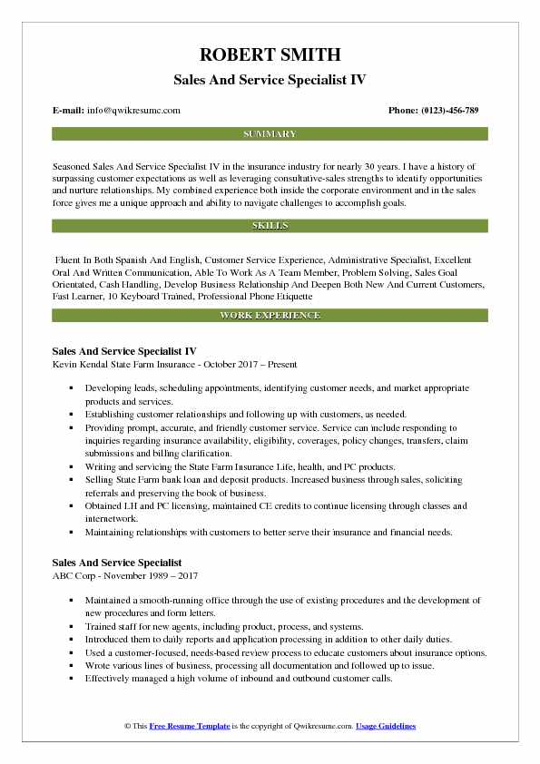 Sales And Service Specialist IV Resume Sample