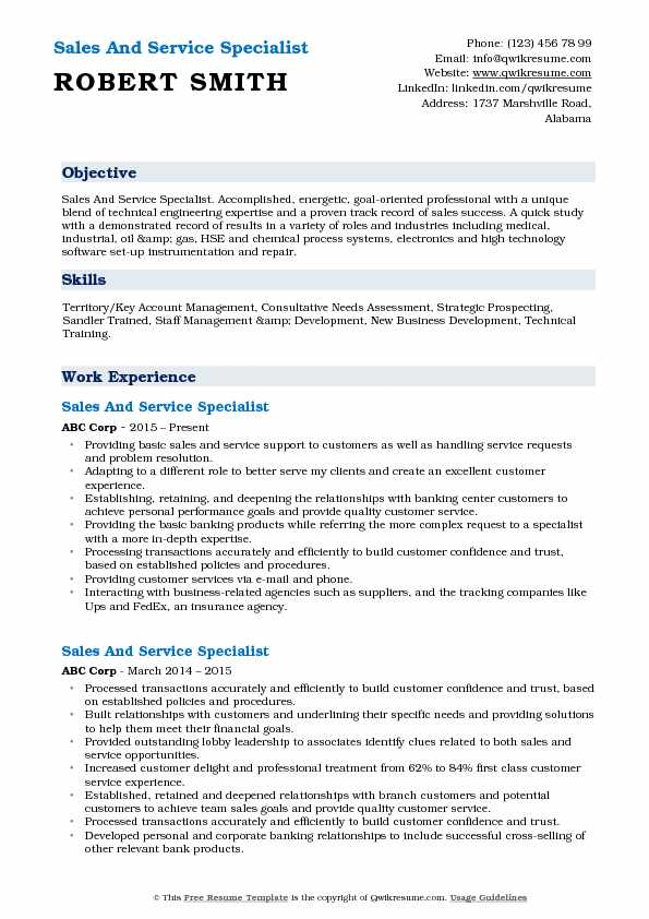 Sales And Service Specialist  Resume Example