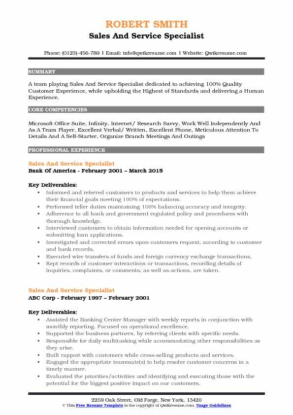 Sales And Service Specialist Resume Format