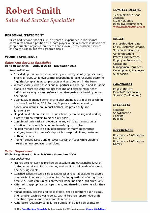 Sales And Service Specialist Resume Template