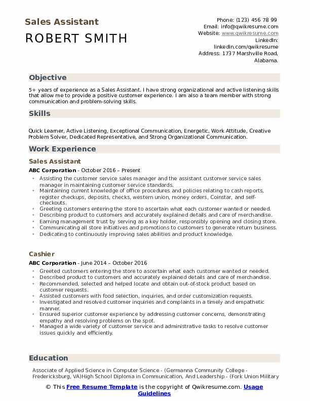 Sales Assistant Resume Model