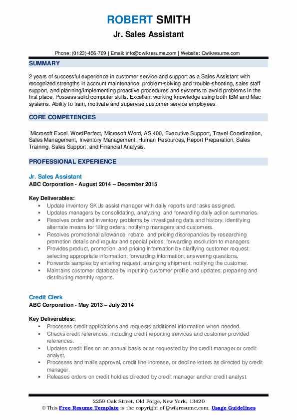 Jr. Sales Assistant Resume Sample