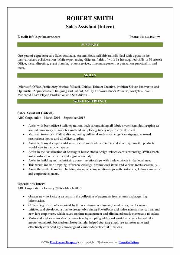 Sales Assistant (Intern) Resume Example