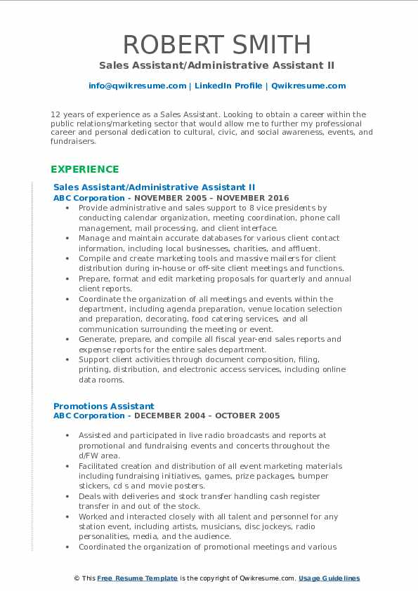 Sales Assistant/Administrative Assistant II Resume Format