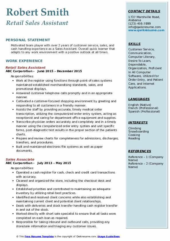 Retail Sales Assistant Resume Example