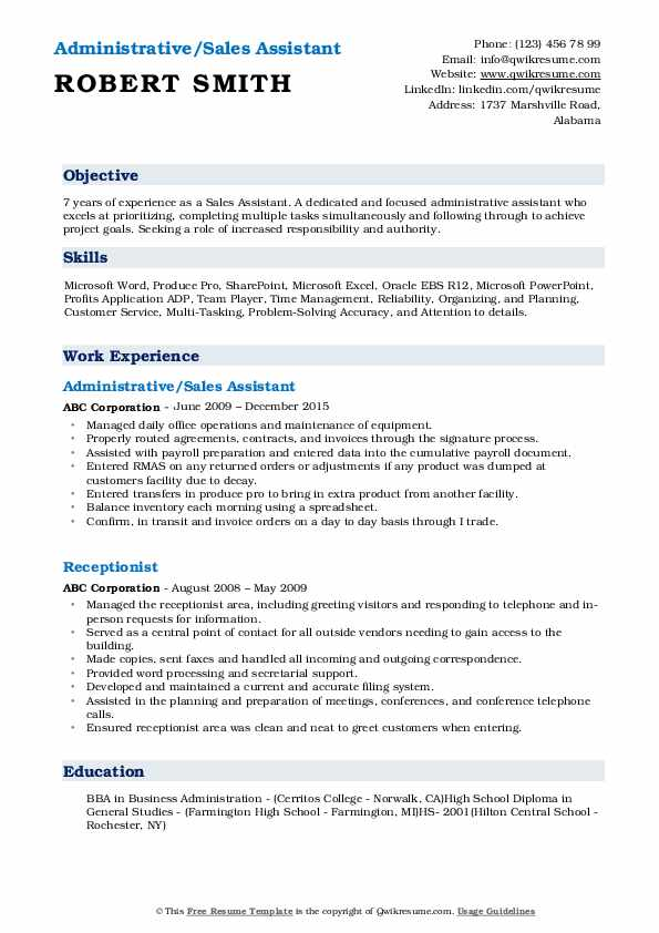 Administrative/Sales Assistant Resume Format