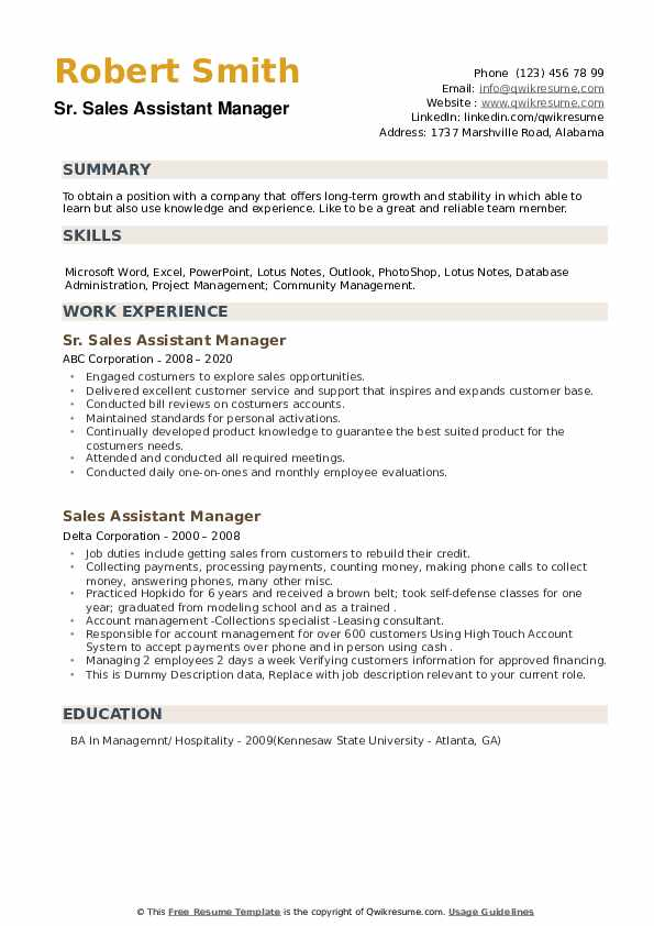 Sales Assistant Manager Resume example
