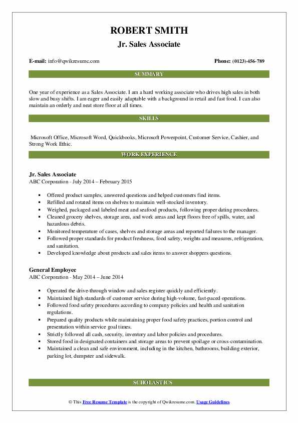 Jr. Sales Associate Resume Format