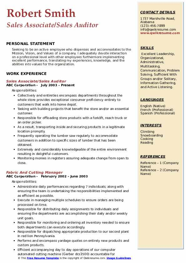 Sales Associate/Sales Auditor  Resume Format
