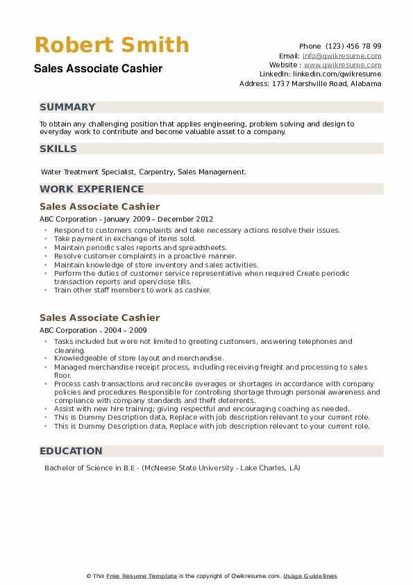 Sample resume for cashier sales associate freedom iv pos terminal paper