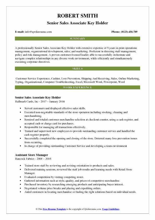 Senior Sales Associate Key Holder Resume Model