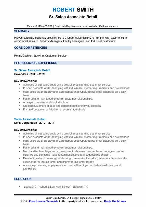 sales associate retail resume samples  qwikresume