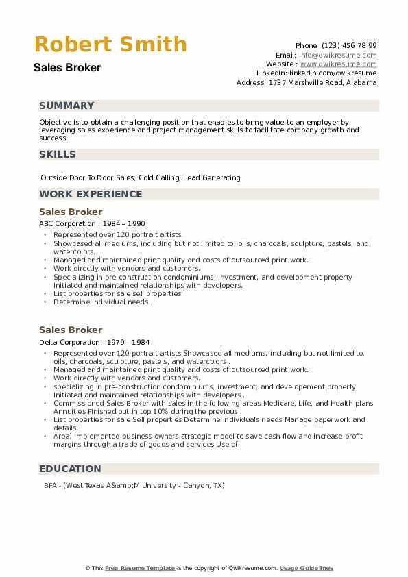 Sales Broker Resume example