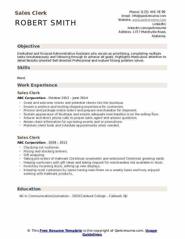 sales clerk resume samples  qwikresume