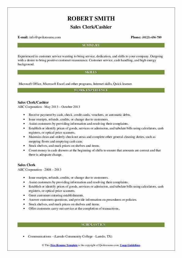 Sales Clerk/Cashier Resume Sample