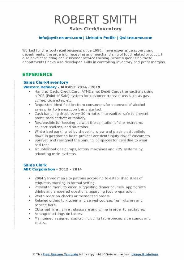 Sales Clerk/Inventory Resume Format