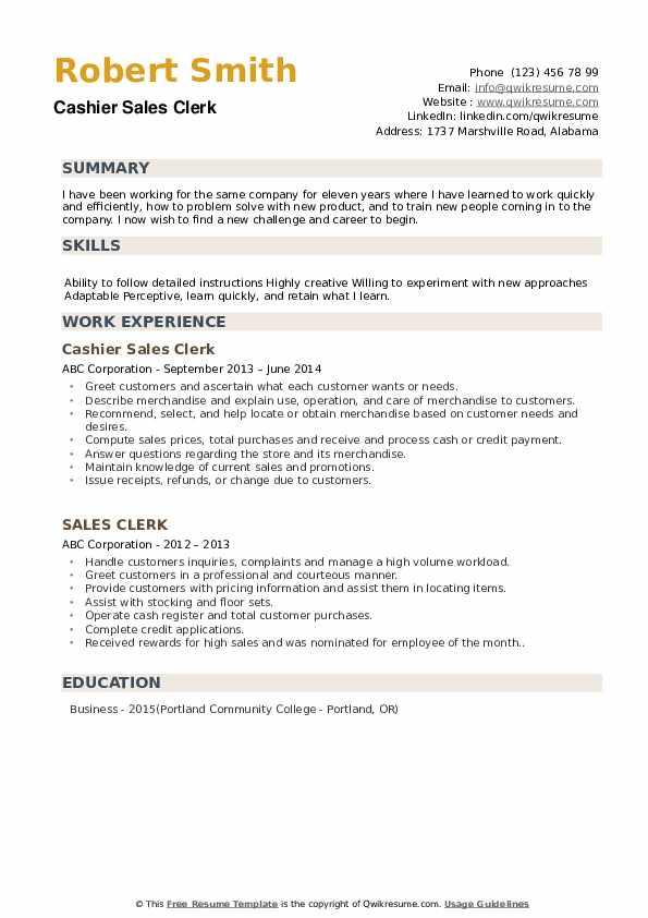Cashier Sales Clerk Resume Format