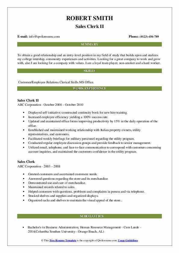 Sales Clerk II Resume Model