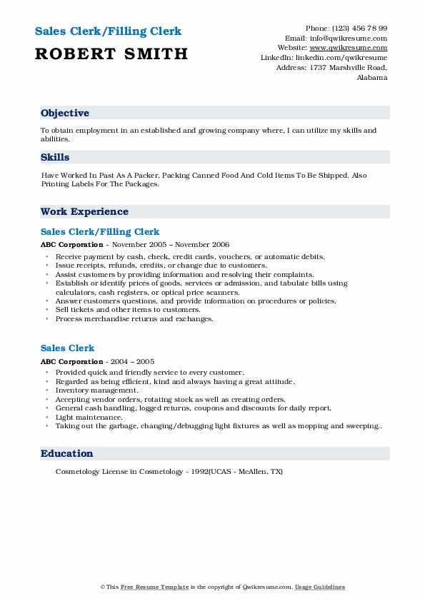 Sales Clerk/Filling Clerk Resume Format