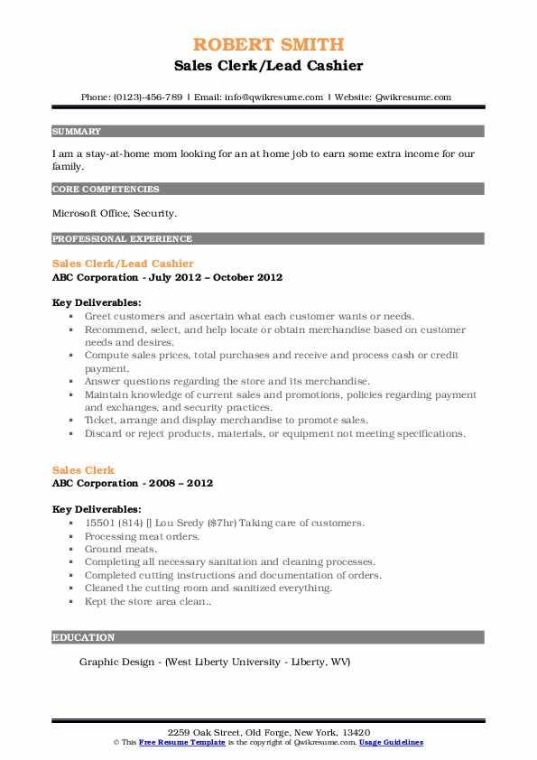 Sales Clerk/Lead Cashier Resume Example