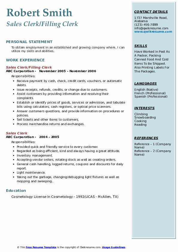 Sr. Cashier Clerk Resume Sample