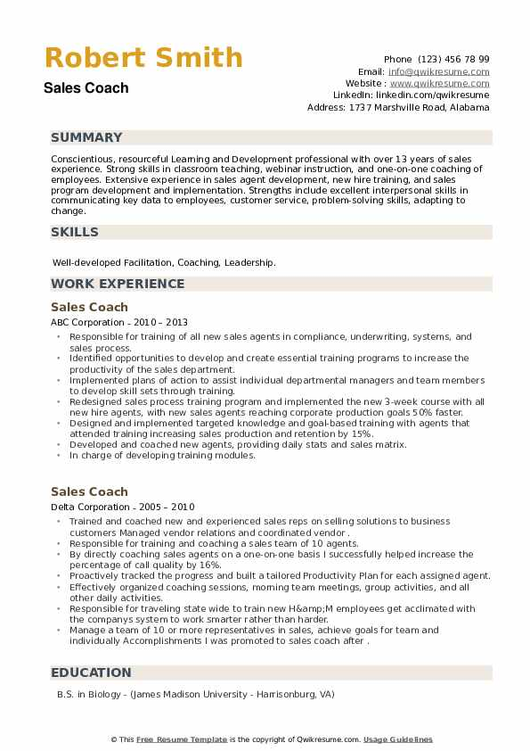 Sales Coach Resume example