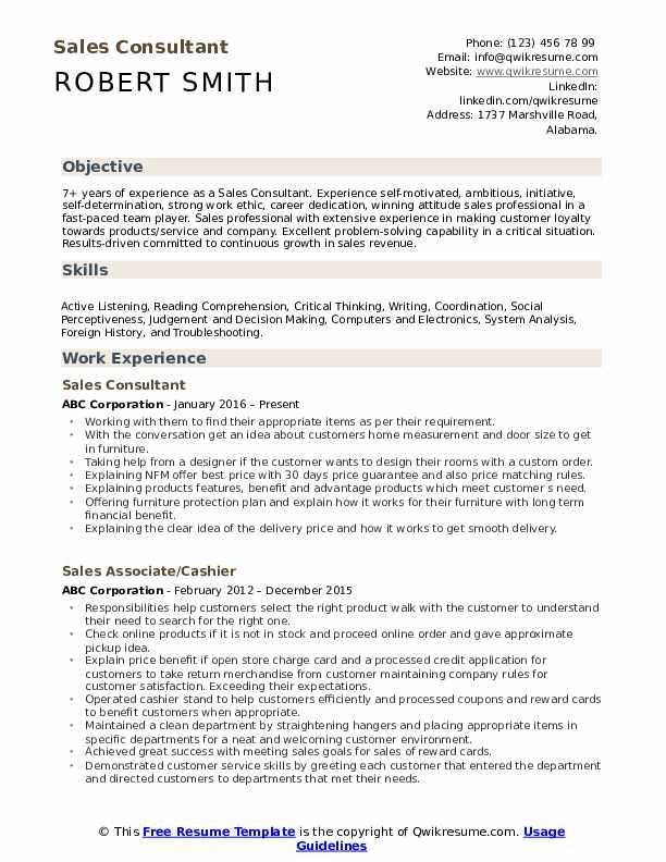 Sales Consultant  Resume Format