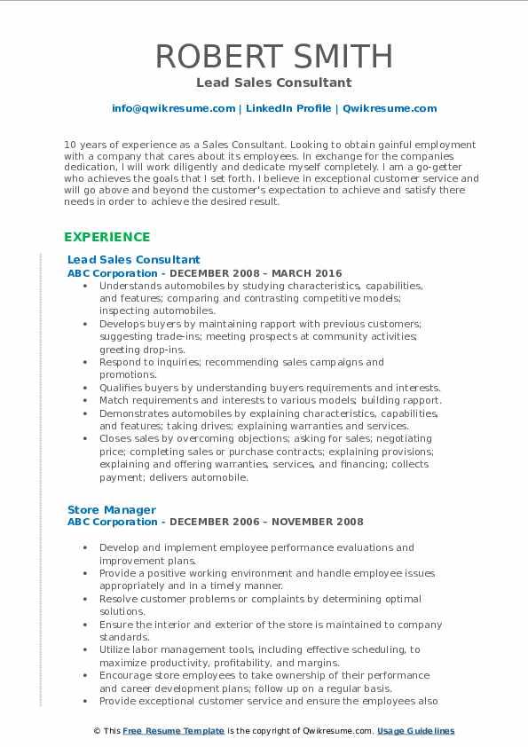 Lead Sales Consultant Resume Format