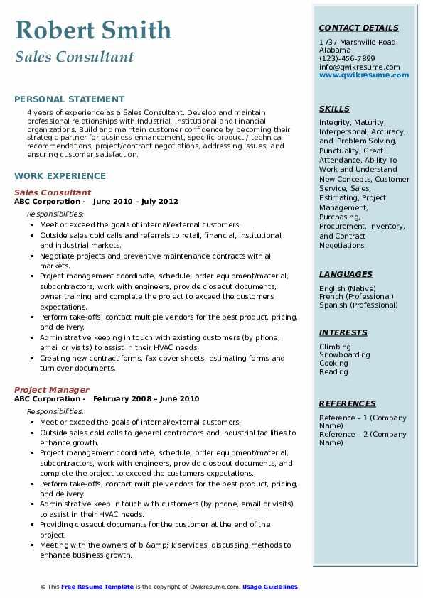 Sales Consultant Resume Template