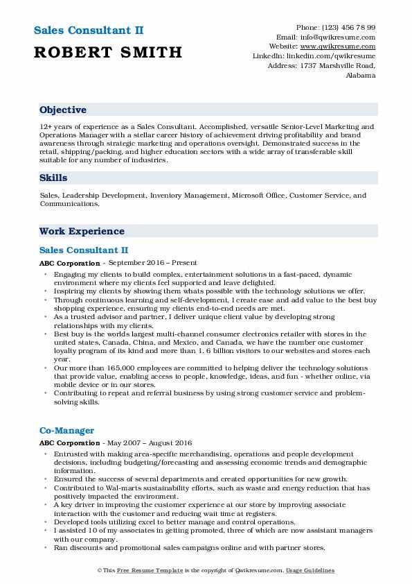 Sales Consultant II Resume Example