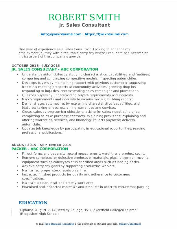 Jr. Sales Consultant Resume Example