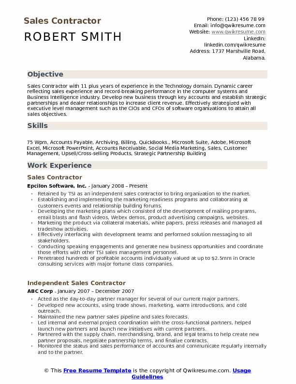 Sales Contractor Resume Template