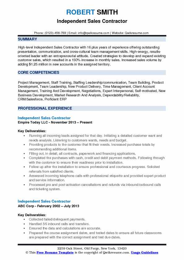 Independent Sales Contractor Resume Format
