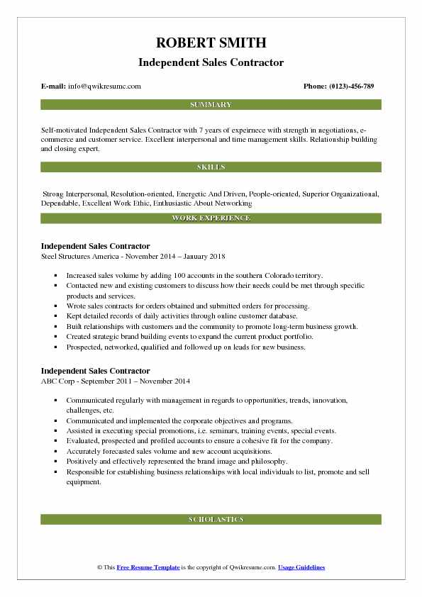 Independent Sales Contractor Resume Model