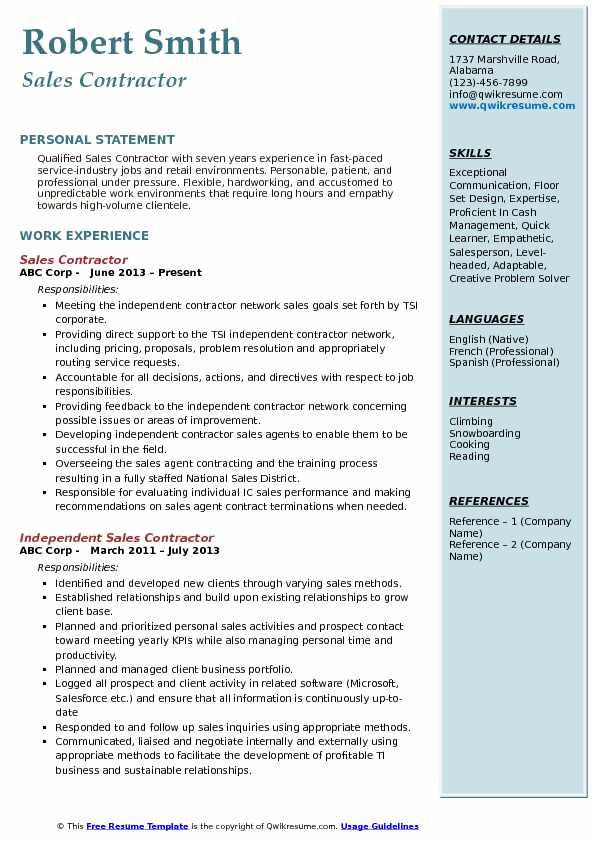 Sales Contractor Resume Example