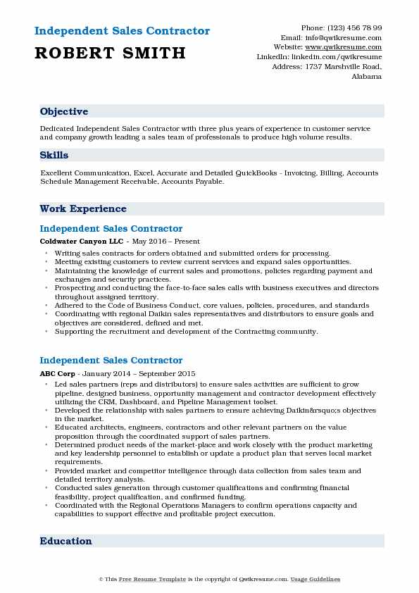 Independent Sales Contractor Resume Sample