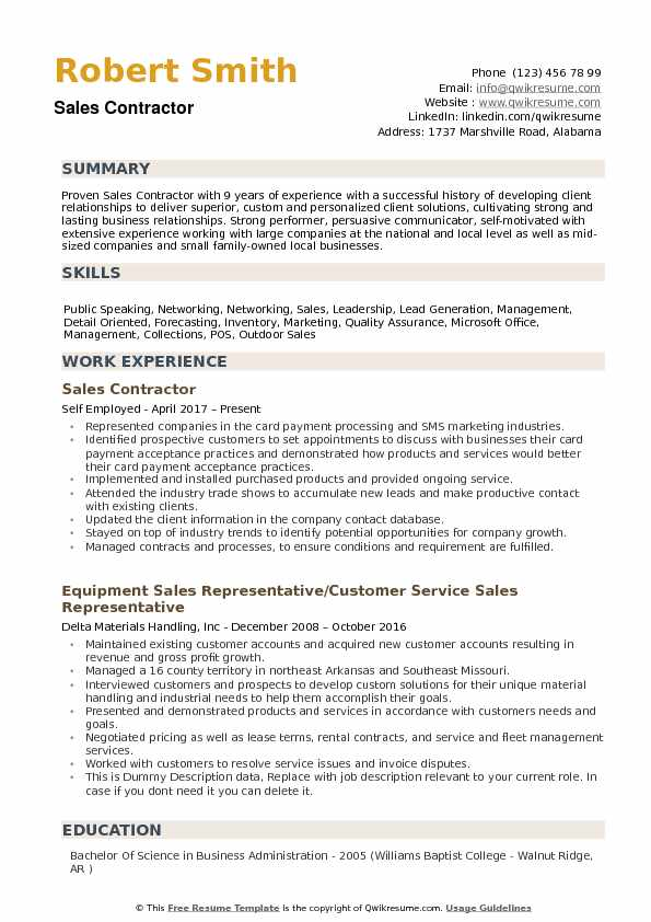 Sales Contractor Resume Samples