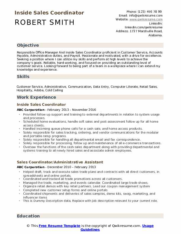 Inside Sales Coordinator Resume Example