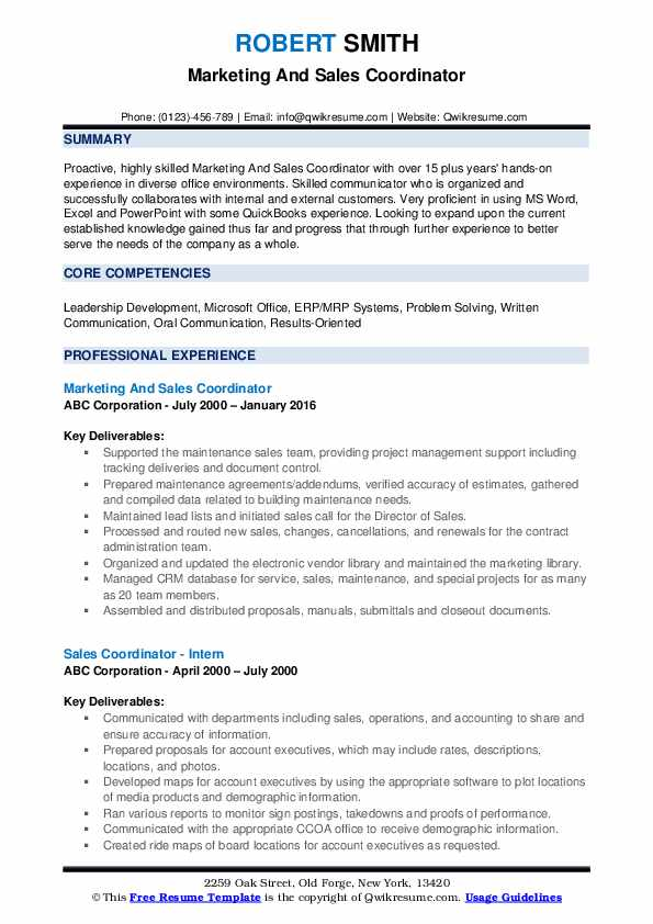 Marketing And Sales Coordinator Resume Sample
