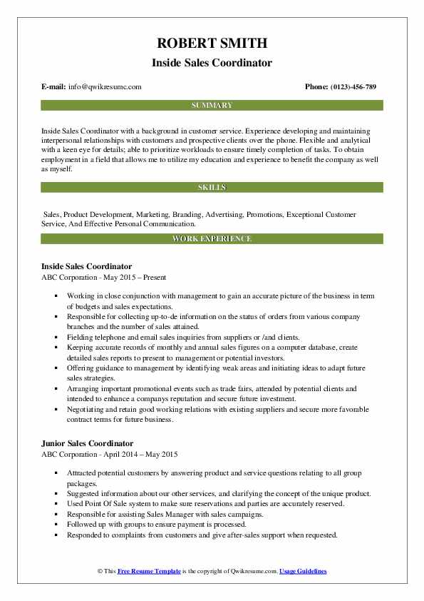Inside Sales Coordinator Resume Template