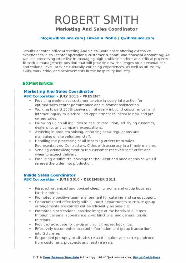 Marketing And Sales Coordinator Resume Format