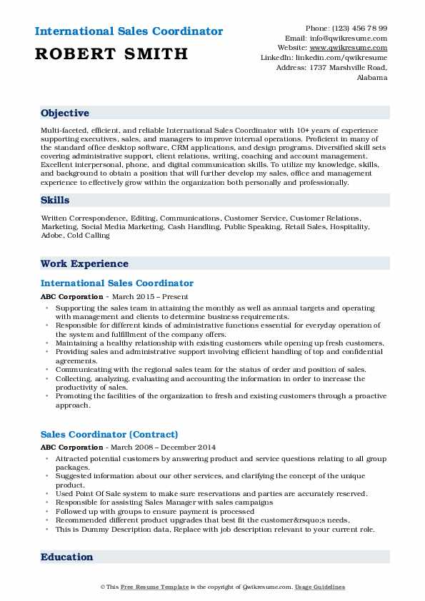 International Sales Coordinator Resume Format