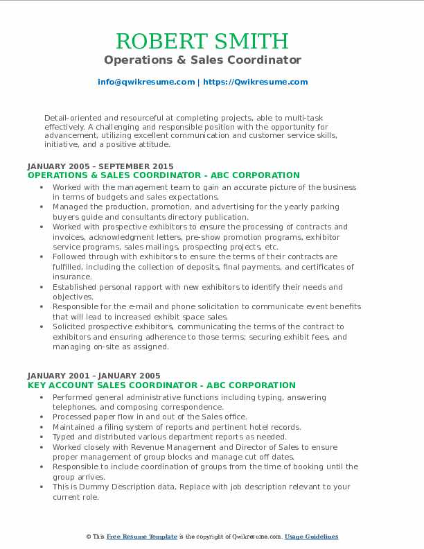 Operations & Sales Coordinator Resume Format