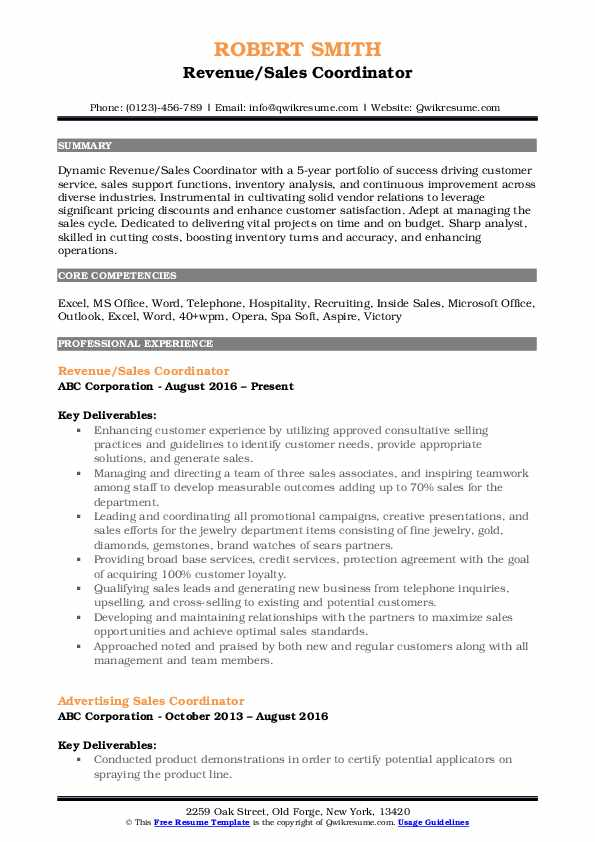 Revenue/Sales Coordinator Resume Model