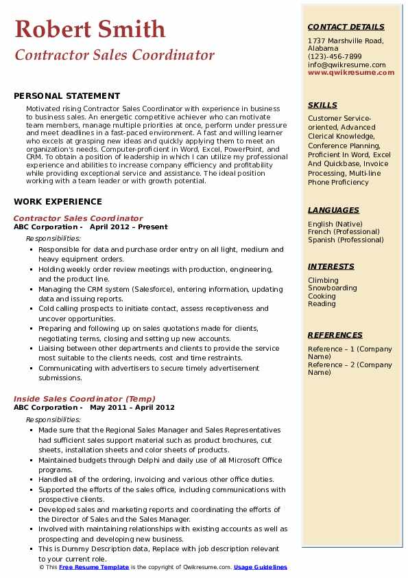 Contractor Sales Coordinator Resume Example
